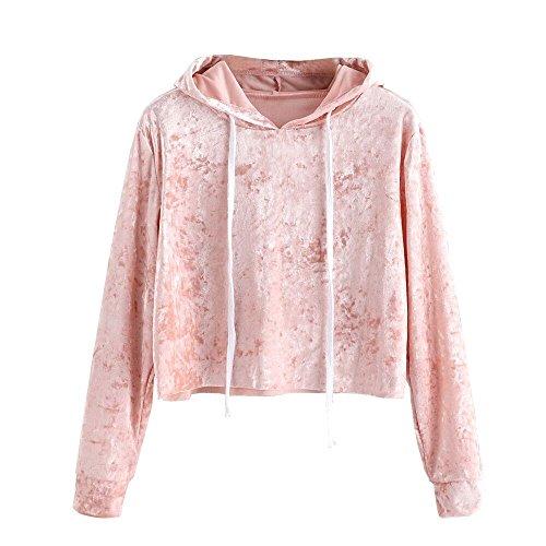 VEMOW Herbst Frühling Damen Langarm Hoodie Sweatshirt Pullover mit Kapuze beiläufige tägliche Training lose Pullover Tops SAMT Bluse(Rosa, EU-38/CN-M)