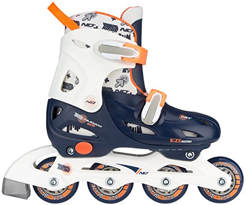 Nijdam Kinder Inlineskates Verstellbar Inline Skates Junior Adjustable Hardboot, Navy Blue/White/Orange, 34-37