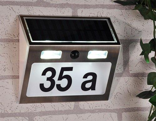 BUVTEC Solar Hausnummer mit Standby Beleuchtung und Bewegungsmelder