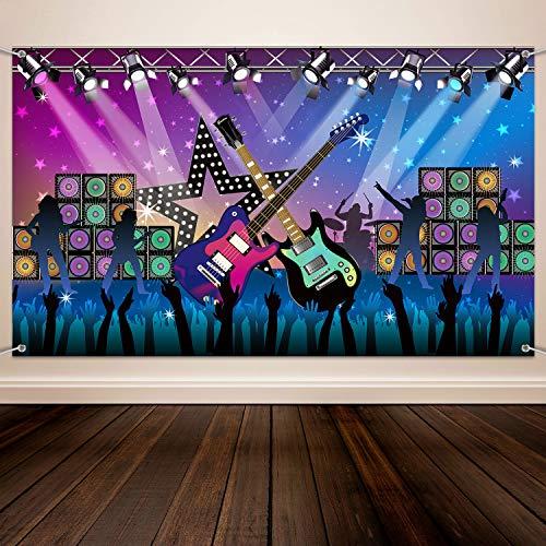 Karaoke Party Dekoration Zubehör, Große Stoff Rock Star Urlaub Party Hintergrund Banner für Rock N Roll Party Dekorationen, Rock Star Banner Hintergrund, 72,8 x 43,3 Zoll