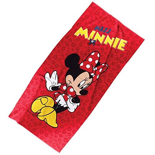TI Home Disney Minnie Mouse Badetuch für Schwimmen, Pool, Yoga und Spa (75 x 150 cm), luxuriöse, Bunte Cartoon-Charaktere, Bedruckt, 100% Reine Baumwolle
