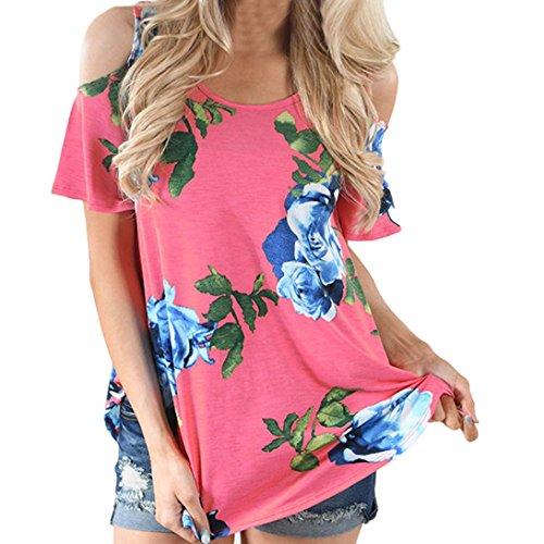 Sannysis Damen Blume Aus Schulter T-Shirt Drucken Kurzarm Lässige Bluse (M, Rose Red) (Rose Schulter)