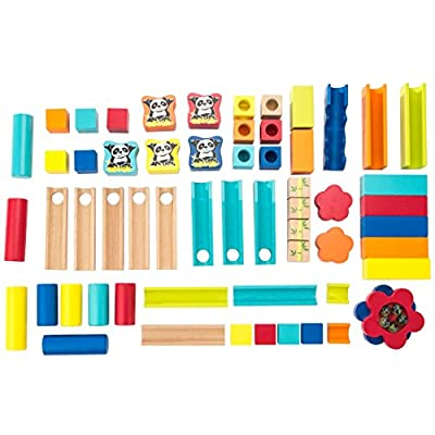 Ultrakidz Wooden Marble Run incl. glass marbles, 60 pieces