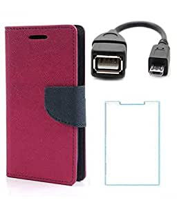 Winchip Mercury Flip Cover For Samsung Galaxy S3 9300 With Screen Guard & Micro OTG Cable - Pink