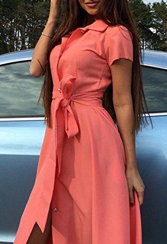 Donne Camicie Vestito Festa vestito Shirt Dress Collo Alto Maniche Corte A-line Casual Single Breasted Linea Fasciatura Abito Arancia