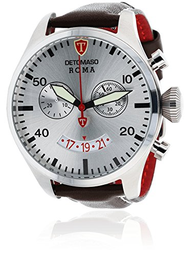 DETOMASO Roma Herren-Armbanduhr mit silbernen Edelstahlgehäuse und braunem Leder-Armband. Elegante Quarz Herren-Uhr mit silbernem Zifferblatt