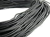 Cuerda de piel redonda 3 mm. Color negro Longitud: seleccionable, negro, 5 m