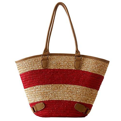 Butterme delle donne Beach Tote Bag Classic paglia di estate Tracolla borsa di acquisto del Hobo Handbag Rosso