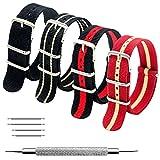 Cinturino Orologio 4 Pacchetti 18mm 20mm 22mm Balistico Cinturino Nato Cinturino in Nylon con Bar Primavera Link Pin Remover Strumento (20mm, Black+Black Khaki+Red Khaki+Black Crimson)