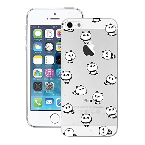 Yokata Coque iPhone 5S, iPhone SE, iPhone 5 Transparente Motif Plume Housse Étui Doux Ultra Mince Etui iPhone SE / 5S / 5 Silicone Souple TPU Gel Bumper en Clair Soft Case Flexible Back Cover Anti Ray Panda Mignonne