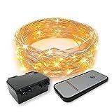 Gresonic 30/60er LED Micro Lichterkette Draht mit Timer Mini Leuchte Batteriebetrieben Deko für Garten Weihnachten Party Hochzeit (Warmweiß mit Fernbediengung, 30 LED)