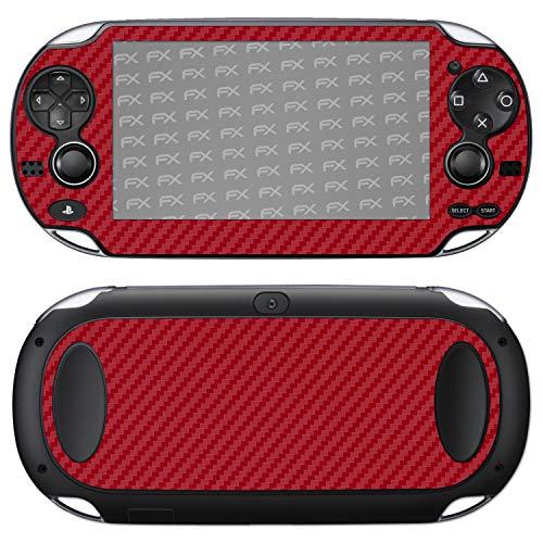 atFoliX Skin kompatibel mit Sony PlayStation Vita, Designfolie Sticker (FX-Carbon-Red), Carbon-Struktur / Carbon-Folie (Vgl Aufkleber)