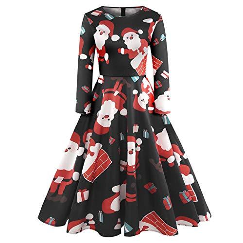 Luckycat WeihnachtsDamen Langarm O Hals Druck Vintage Kleid -