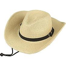Hombres Sombrero de paja Verano Sombrero de playa Sombrero de vaquero Para Camping / Ciclismo / Caza / Golf / Senderismo One Size Beige