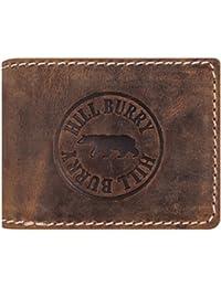 Hill Burry Cartera de Cuero para Hombre | Billetera - Monedero de Cuero Genuino con un Aspecto Vintage | Hombres - Mujeres Bolsillo Horizontal | RFID