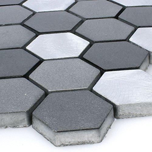 Aluminium Mosaik Apache Sechseck Hexagon Schwarz Silber