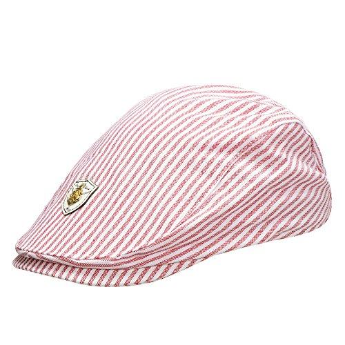 Miuno® Kinder Unisex Schlägermütze Golfermütze Schiebermütze K810 (K8103_Rot) (Gestreifte Rot Hut)