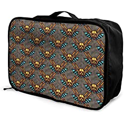 Qurbet Sacs de Voyage,Sac à Main, Portable Luggage Duffel Bag Skull Pattern Travel Bags Carry-on in Trolley Handle