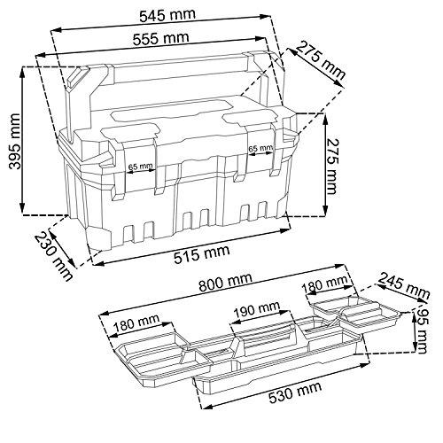 Großer Werkzeugkoffer Werkzeugträger TITAN Heimwerker 550 x 290 x 280 Alu Griff - 2
