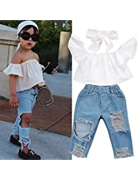 Napoo Baby Off Shoulder Crop Tops + Hole Denim Jeans+Headband Toddler Kids Clothes
