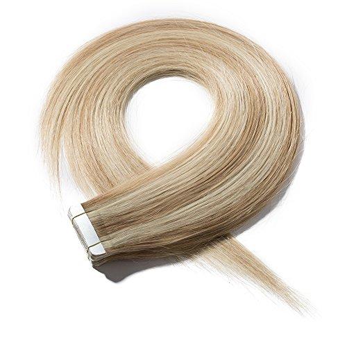 Extension biadesivo capelli veri 20 fasce adesive tape extensions biadesive bionde meches 40g 100% remy human hair lisci 30cm - #18p613 biondo cenere mix biondo chiarissimo