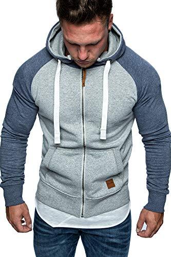 Amaci&Sons Herren Zipper Kapuzenpullover Sweatjacke Pullover Hoodie Sweatshirt 1-04030 Hellgrau/Blau L