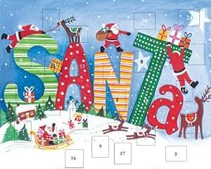 Caspari Entertaining with Caspari Christmas Flat Advent Calendar, Santa