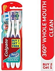Colgate 360° Whole Mouth Clean Soft Bristle Toothbrush (Buy 2 Get 1 Free)