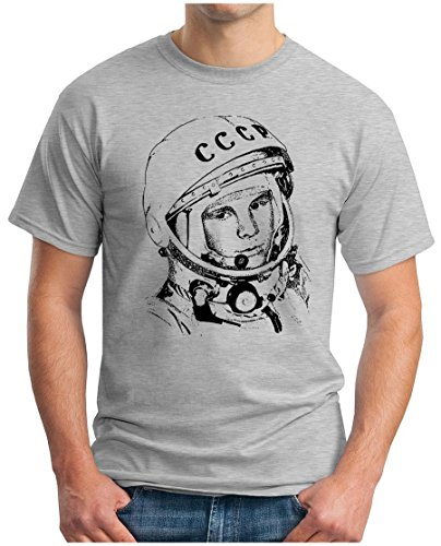 OM3 - JURI GAGARIN - T-Shirt Kosmonaut UDSSR 1962 Space Sojus Mond Mission Mars Weltraum, S - 5XL Grau Meliert