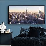 New York City Manhattan Empire State Building Gemälde Leinwand Kunst Poster und Druckgrafik Wohnzimmer Wandbild (ohne Rahmen) T1 40x80CM
