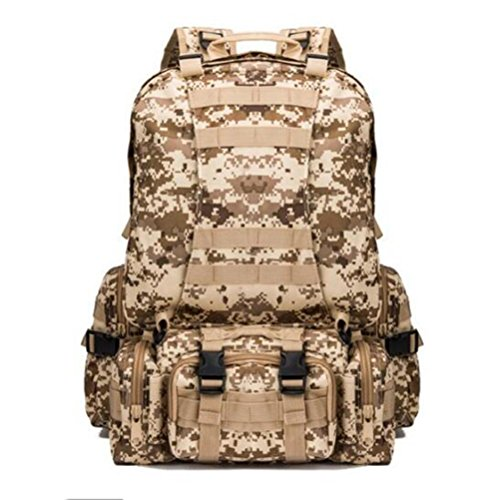 MFFACAI Rucksack 600D 55L Militär Multifunktionskombination Shopping Bewegung Limit Challenge Outdoor Rucksack, Desert digital