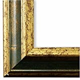Bilderrahmen Bari Grün Gold 4,2 - DIN A2 (42,0 x 59,4 cm) - LR - 500 Varianten - alle Größen - handgefertigt - Galerie-Qualität - Antik, Barock, Landhaus, Shabby, Modern - Fotorahmen Urkundenrahmen Posterrahmen