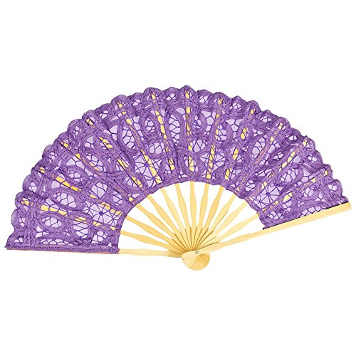 VON LILIENFELD Fächer Carmen handgeklöppelte Battenburg-Spitze Bambusstäbe Zierquaste lila violett