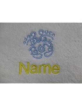 Accappatoio per adulti con un It' s a Boy Feet logo e nome a scelta in bianco, taglia M, L, XL e XXL, White, large