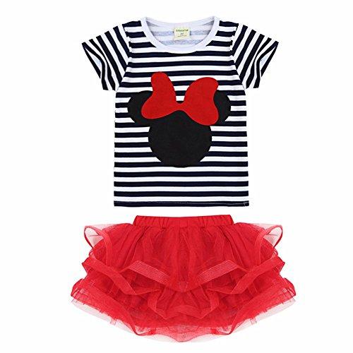 YiZYiF Baby Mädchen Bekleidungsset,Streifen Kurzarm das Niedliche Kopf T-shirt die Mini Rock Tütü (80-86 (Herstellergröße 90), Schwarz + (Schwarz Tutu Kleinkind)