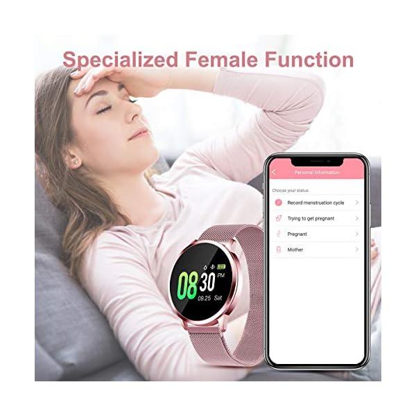 Smartwatch Mujer Rosa Impermeable Reloj Inteligente Elegante Fitness con Monitor Impermeable IP67 con Monitor de Sueño Pulsómetros Podómetro Contador de Caloría Compatible con iOS Android 4