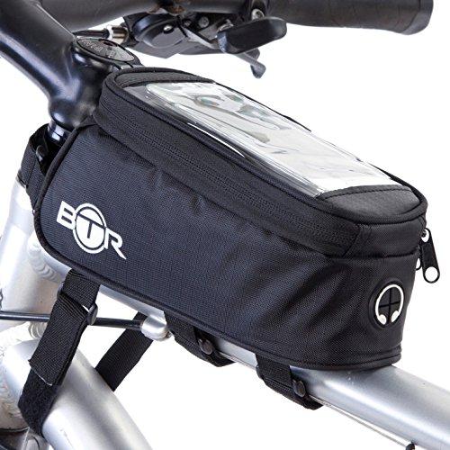 BTR Fahrradtasche und Handy-Halterung - wasserabweisende Fahrradtasche, schwarz. Fahrrad Handyhalterung
