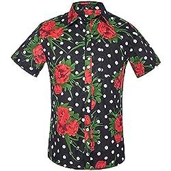 NANSHIZSCS Camisa de hombre Camisa De Hombre con Estampado De Lunares Y Tallas Grandes, Manga Corta, Camisa Casual, Camisas De Vestir De Fiesta En La Playa, XL
