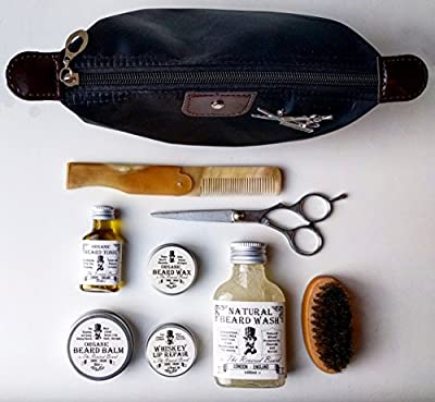 Organic Mens Grooming Set: Organic Beard Oil, Balm, Wax, Soap, Whiskey Lip balm + Scissors + Comb + Brush + Case. Beard Gift Set by Revered Beard