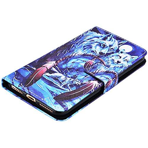 Coque iPhone 7 Plus , We Love Case Motif Attrapeur Rêve Étui Cuir de Haute Qualité PU Leather Pratique en Cuir Portefeuille Housse de Protection pour Apple iPhone 7 Plus Fermeture Magnétique Case Légè Loups