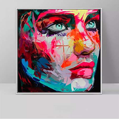 Arte abstracto de la pared Pintura de la lona Hombre colorido Mujer Mujer Cara Pintura al óleo Impresión...