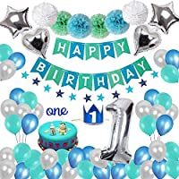 Weimi 1st Birthday Decorations for Boys, Blue Happy Birthday Banner Baby Boy 1st Birthday Decoration Pack with Latex and Foil Balloons Kit