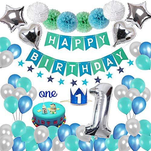 Toupons 1. Geburtstag Dekorationen für Jungen Mädchen, Geburtstagsdeko 1 Geburtstag Blau Happy Birthday Banner Girlande Wimpelgirlande und Pompoms Latex und Folie Ballons Set Party Dekoration Dekor