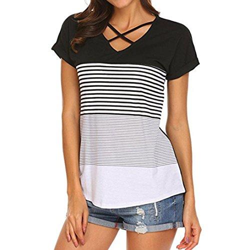 UBabamama V-Kreuz-Ausschnitt Bluse Stripe Splice T-Shirt mit Kurzarm Patchwork-Tee lose Casual Oberteile für Damen