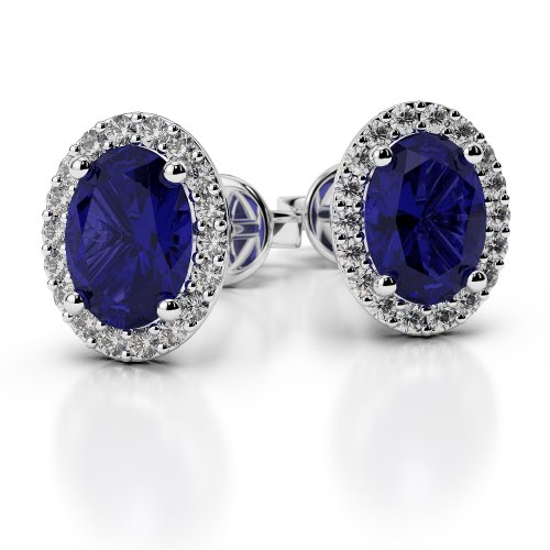 Or blanc/or/Rose/Jaune/Or/Platine forme ovale saphir et diamant Boucles d'oreilles ager-1070-vsgh