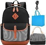 Canvas zaino di scuola borse set Zaino per le ragazze Zaino per Laptop College Peso leggero Zaino casual con porta di ricarica USB (Nero)