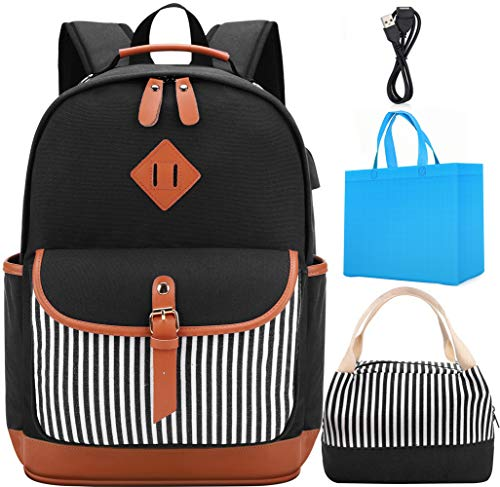 Laptop Rucksack für 15.6 Zoll Kühltasche Schultasche mit USB Ladeanschluss Moderne Laptoptasche für Mädchen, Teenager Schwarz (Jungen-mittagessen-tasche Schultergurt)