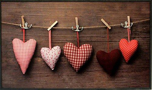 Garderobe ?Fluffy Heart?, Hakenleiste, Garderobenleiste, Kleiderhaken, rot, 41x70x6 cm, Diele, Flur, Garderobenpaneel, Garderobenhaken, Garderobe
