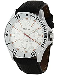 Golden Bell New Style Analogue Display White Dial Black Leather Strap Broad Chronograph Look Boys And Men Watch...