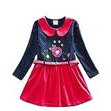 Neat Mädchen Blumen Langarm Baumwolle Kleid 2-8 Jahre LH6869Navy 6T